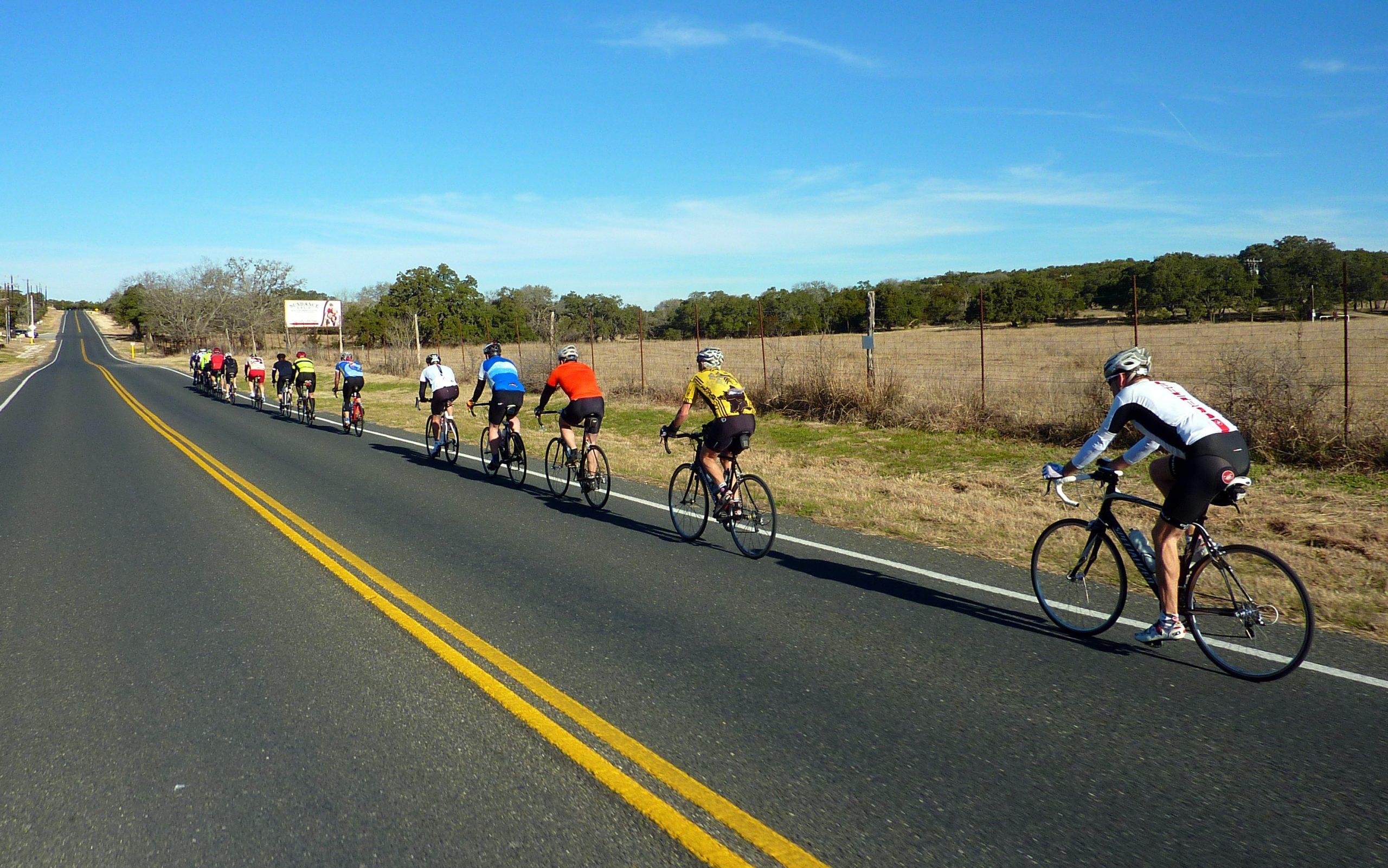 San Antonio Wheelmen ride in tandem through a rural road. Courtesy photo.