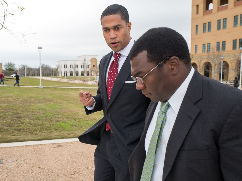 MLK Commission Chair Brandon Logan speaks with EastPoint Director Mike Etienne while taking a tour of the Texas A&M University - San Antonio campus. Photo by Scott Ball.