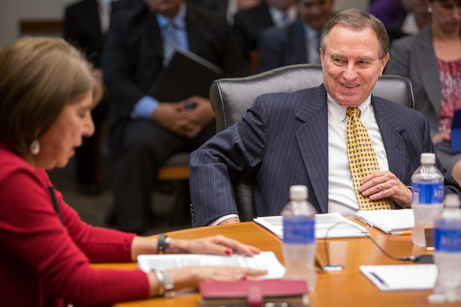 Outgoing CPS Energy board Chair Nora Chavez (left) passes the reins over to Ed Kelley. Photo by Scott Ball.