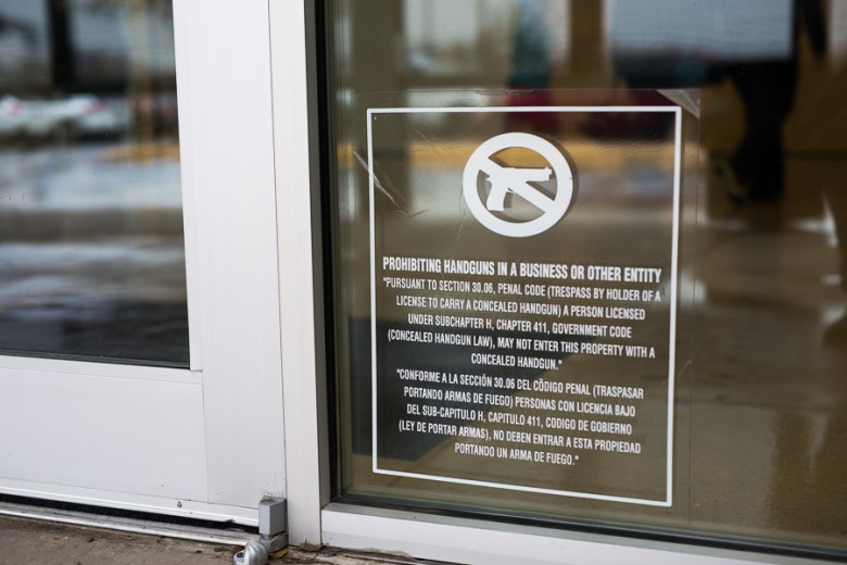 D.R. Semmes Family YMCA on North Saint Mary's Street currently has a sign prohibiting concealed handguns but not openly carried handguns. Photo by Scott Ball.