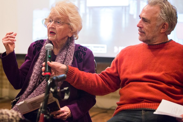 Founder of The RK Group Rosemary Kowalski gives her story as Robert Rivard assists her. Photo by Scott Ball.