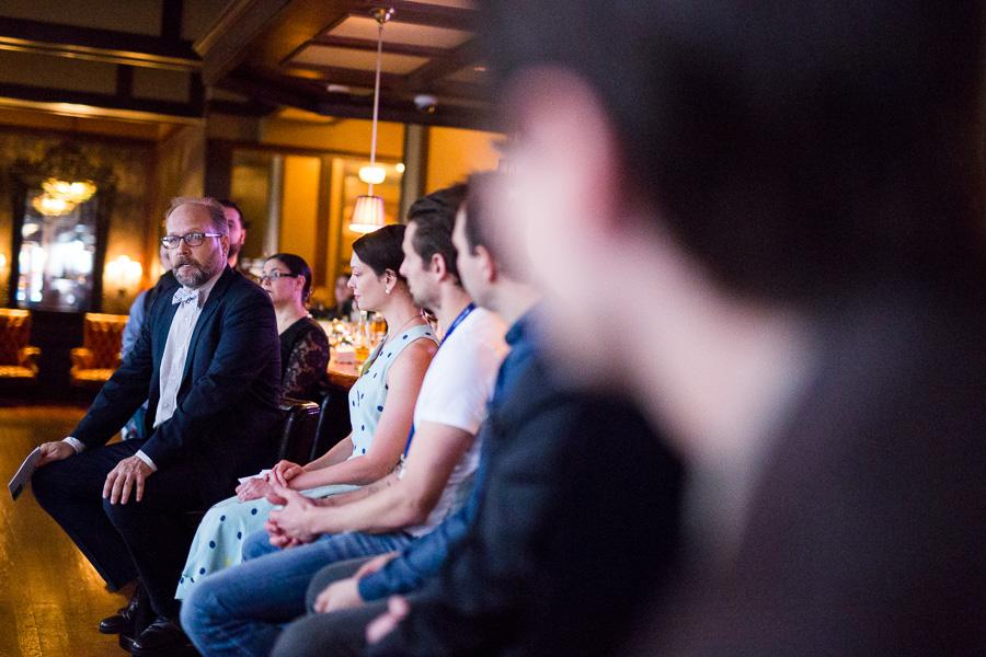 Robert Simonson moderates a panel honoring Sasha Petraski. Photo by Scott Ball.