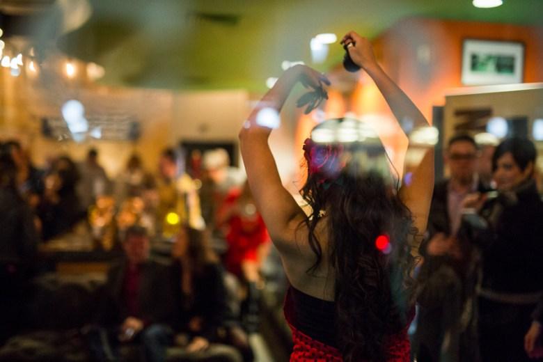 Daniella Espinoza performs a flamenco dance at Sip Coffee and Sandwich Bar. Photo by Scott Ball.
