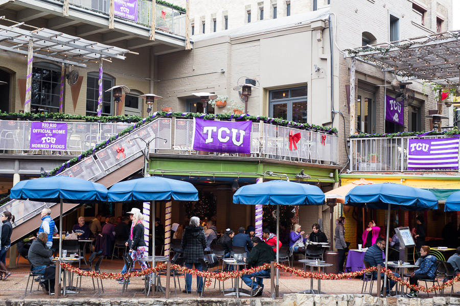 "Rio Rio on The San Antonio Riverwalk advertises itself as the ""Official Home of TCU"". Photo by Scott Ball."