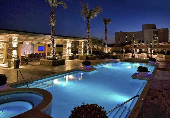 The Broadway's pool at night. Courtesy photo.
