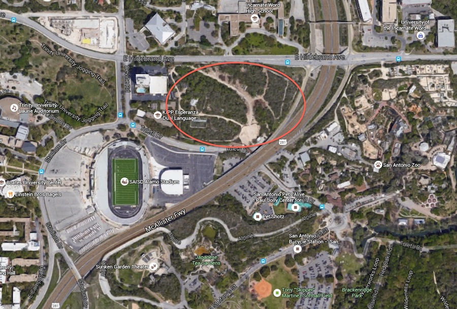 Two acres of undeveloped land owned by SAISD on Tuleta Drive across from the San Antonio Zoo. Image via Google Maps.