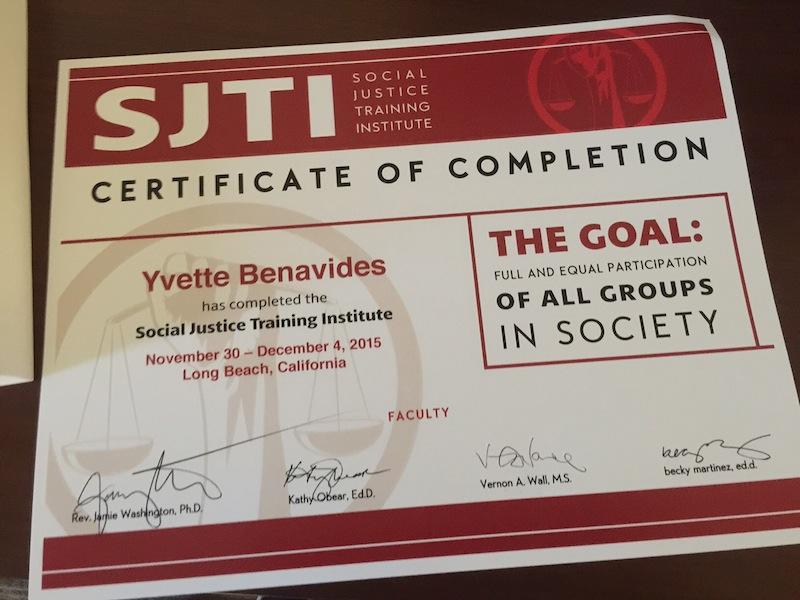 Yvette Benavides' social justice training certificate. Courtesy photo.