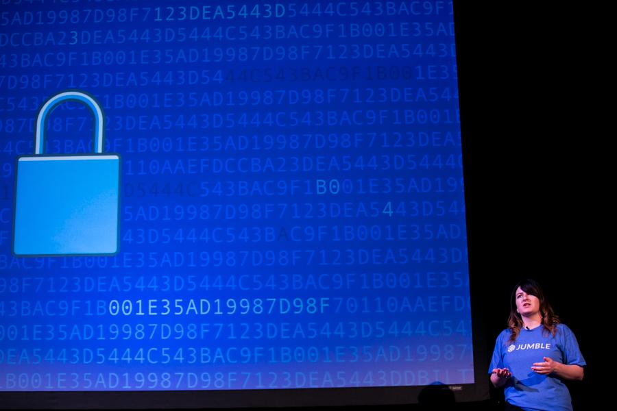 Fiona Kelly, Co-founder at Jumble, explains how Jumble encrypts emails. Photo by Kathryn Boyd-Batstone
