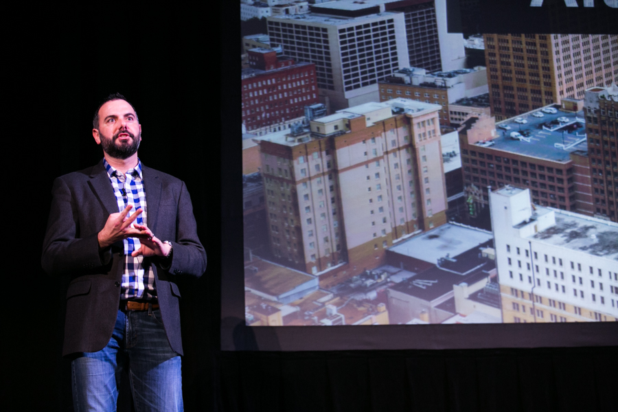Blake Yeager Managing Director of Techstars Cloud moderated the Techstars Demo Day. Photo by Kathryn Boyd-Batsotne