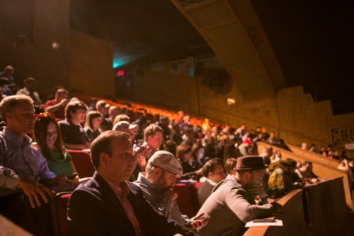 The Aztec Theater was full for the Techstars Demo Day. Photo by Kathryn Boyd-Batstone