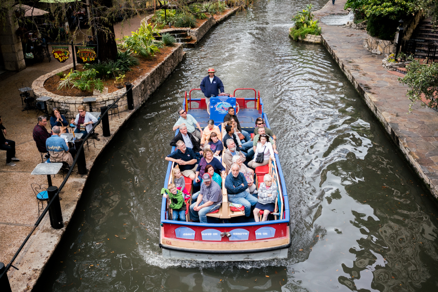 Most of Rio San Antonio Cruises' river barges are about 20 years old. Photo by Kathryn Boyd-Batstone.
