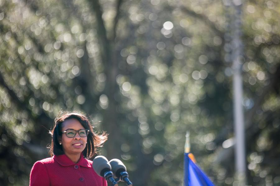 San Antonio Mayor Ivy Taylor, remarked on the many lives impacted by the Battle of the Alamo. Photo by Kathryn Boyd-Batstone