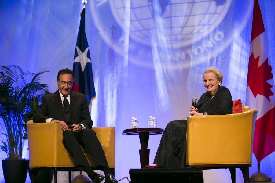 Former Mayor Henry Cisneros and Madeleine Albright discuss moving ahead in the Middle East. Photo by Kathryn Boyd-Batstone