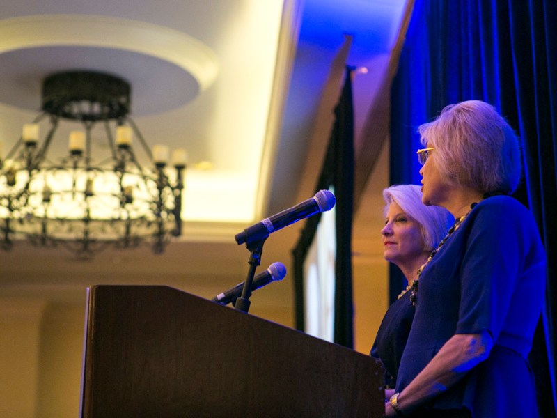 Janet Holliday(left) and Joan Katz (right), twin sisters, spoke about the struggles they faced in battling cancer. Photo by Kathryn Boyd-Batstone