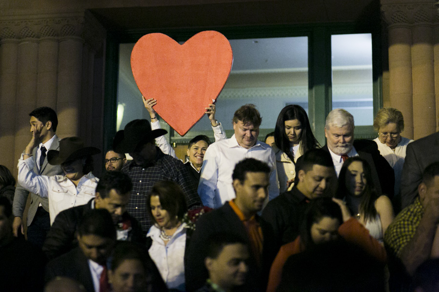 The Valentine's Day mass marriages occured on the front steps of the Courthouse. Photo by Kathryn Boyd-Batstone