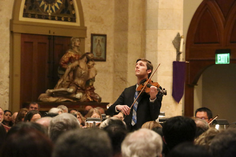 Eric Gratz, violinist and concertmaster, leads the San Antonio Symphony as he performs Vivaldi from L'estro Armonico as part of the Baroque Series at the San Fernando Cathedral. Photo by Bria Woods.