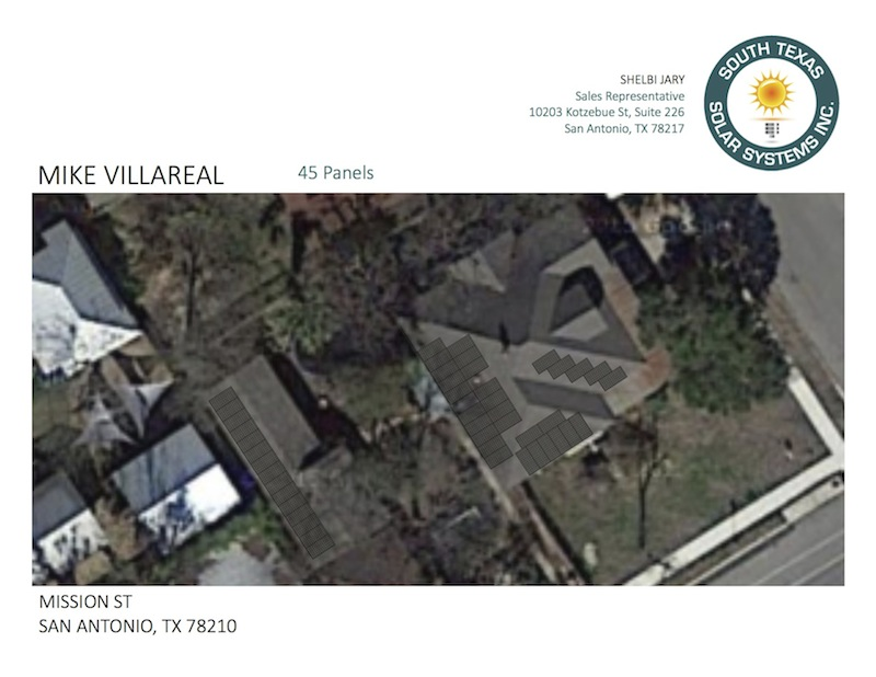 A site map of Mike Villarreal's solar installation plan. Image courtesy of South Texas Solar Systems Inc.