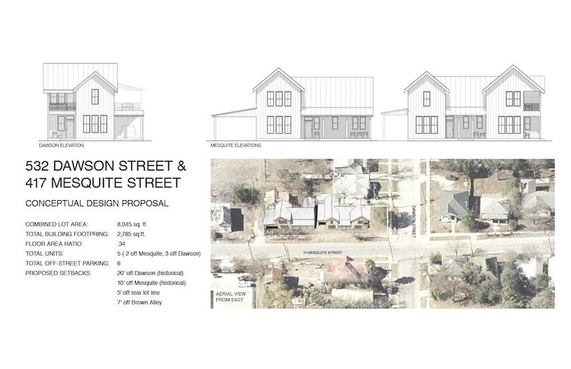 """The """"Residences at Mesquite"""" will include seven off-street parking spaces. Rendering Courtesy of Logan Fullmer."""