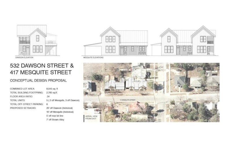 "The ""Residences at Mesquite"" will include seven off-street parking spaces. Rendering Courtesy of Logan Fullmer."