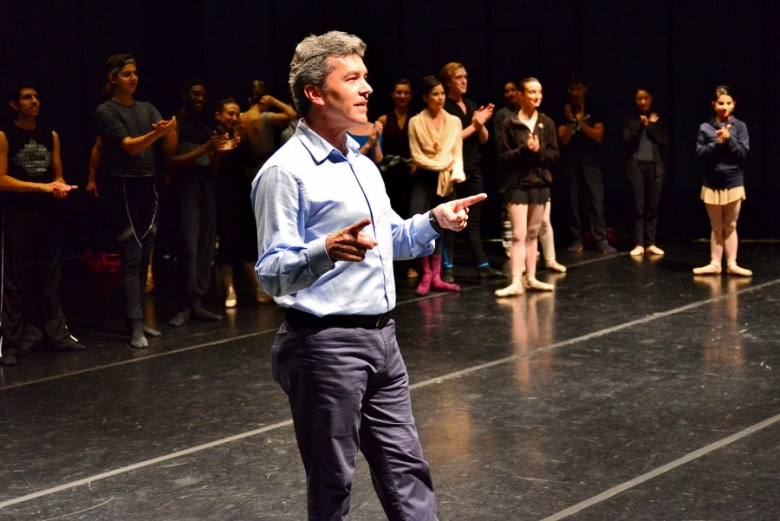 Ballet San Antonio artistic director, Willy Shives welcomes the audience. Peter Pan Sneak Peek, January 2016. Photo by Page Graham.