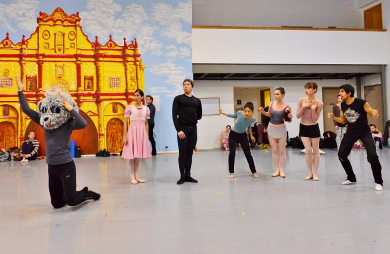 The Darling Family looks on as faithful mutt Nana responds to a dose of cod liver oil. Ballet San Antonio in rehearsal, February 2016. Photo by Tami Kegley.