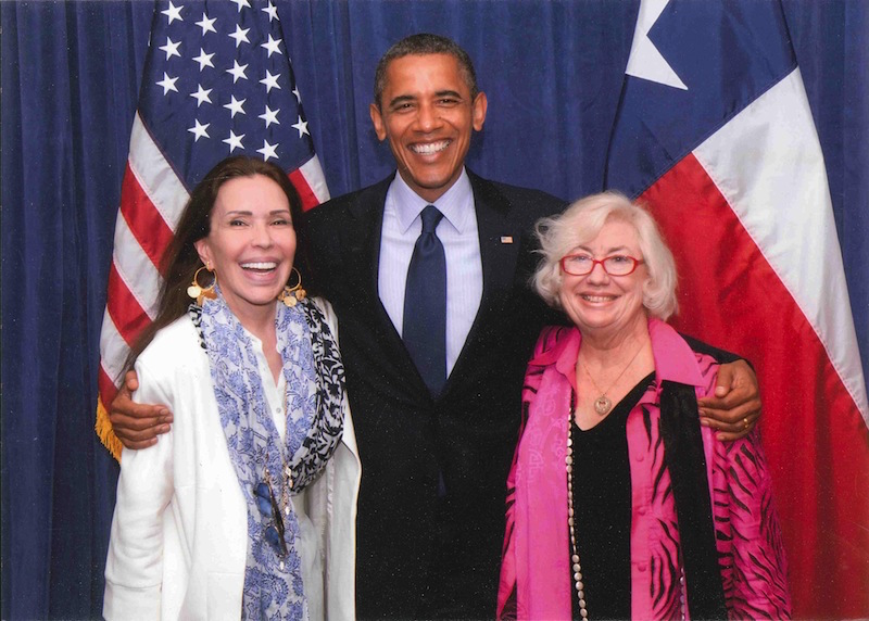 (From left) June Jaffe, President Barack Obama, and Jane Macon during his visit to San Antonio in 2012. Photo courtesy of Jane Macon.