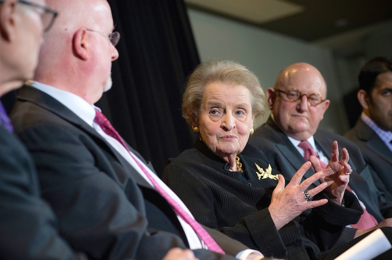 Former Secretary of State Madeleine Albright participates in a panel on the Future of Religion and Politics at the Newseum in Washington, D.C., on March 3, 2015. Photo by Maria Bryk for the U.S. Department of State.