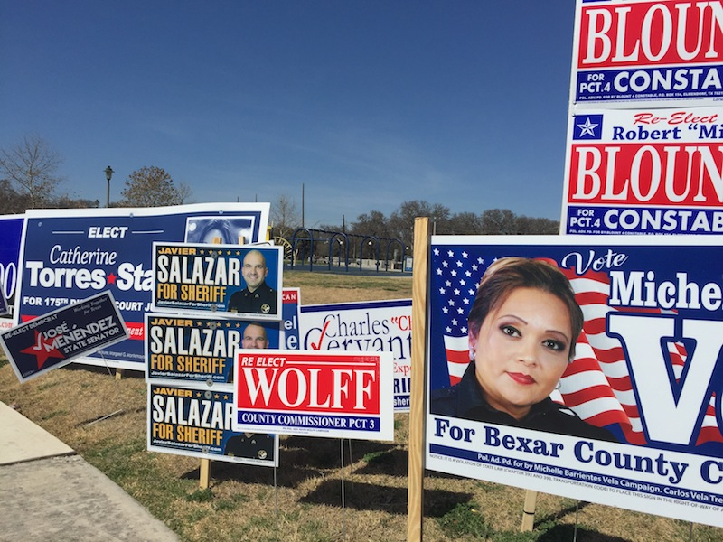 Lions Field is covered with campaign signs in the lead up to the March 1 Primary election. Photo by Robert Rivard.