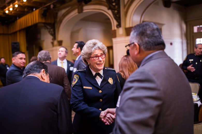 Sheriff Pamerleau meets and greets attendees awaiting as she arrives to Sunset Station. Photo by Scott Ball.