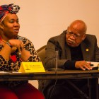 Shun Barrientez (left) discusses the role social media plays in modern activism. Photo by Scott Ball.