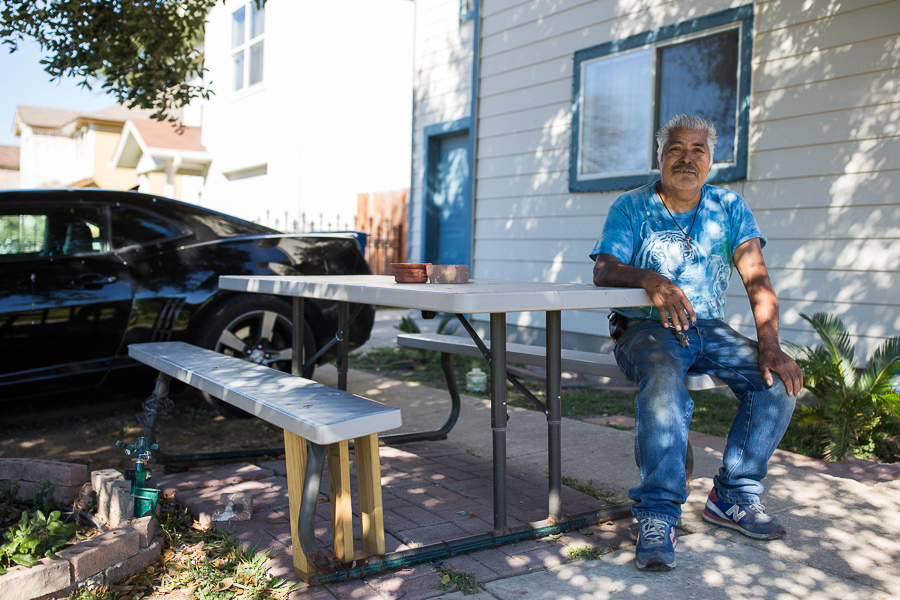 Jose Luis Nabejar is a resident of Blue Ridge neighborhood, one that plans on staying while continuing to repair his decaying house. Photo by Scott Ball.