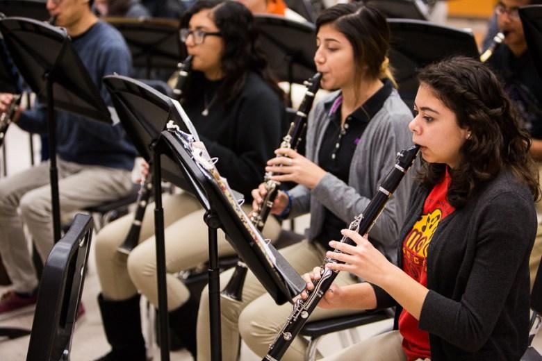 Isabel Meza (r) and the Burbank HS Mighty Bulldog Band clarinets. Photo by Scott Ball.
