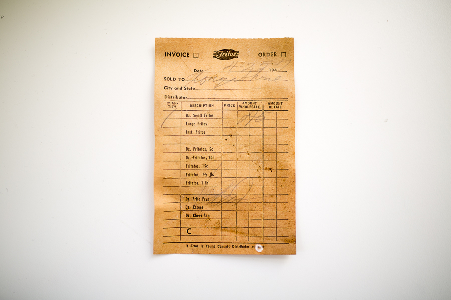A receipt from Fritos made in 1957 was found in the basement of the Savoy. Photo by Scott Ball.