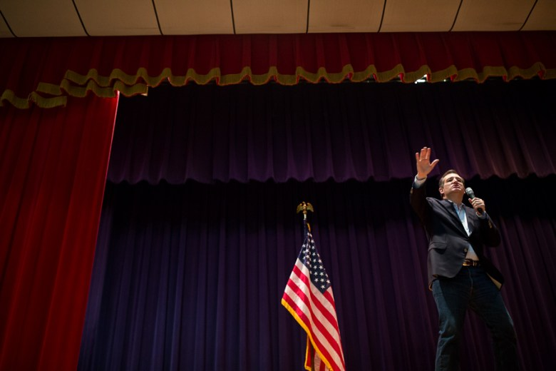Senator Ted Cruz waves his arm violently as he vows to put an end to the Internal Revenue Service. Photo by Scott Ball.