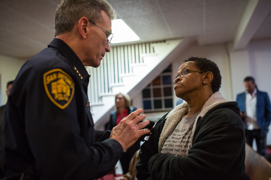 Chief William McManus and the mother of recently killed Antronie Scott, Diane Peppar disagree on what was said to be held in her sons hand during the night of his death. Photo by Scott Ball.