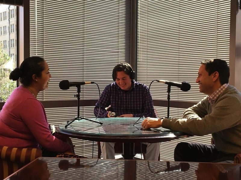 (From left) Mari Aguirre-Rodriguez sits down with 210 Podcast producer Paul DiGiovanni and State Rep. Trey Martinez Fischer for an interview. Photo courtesy of Paul DiGiovanni.