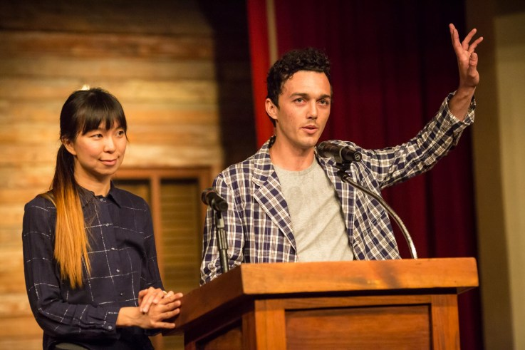 Nicolas Rivard and Allison Hu of Overland Partners prepare to introduce judges. Photo by Michael Cirlos.