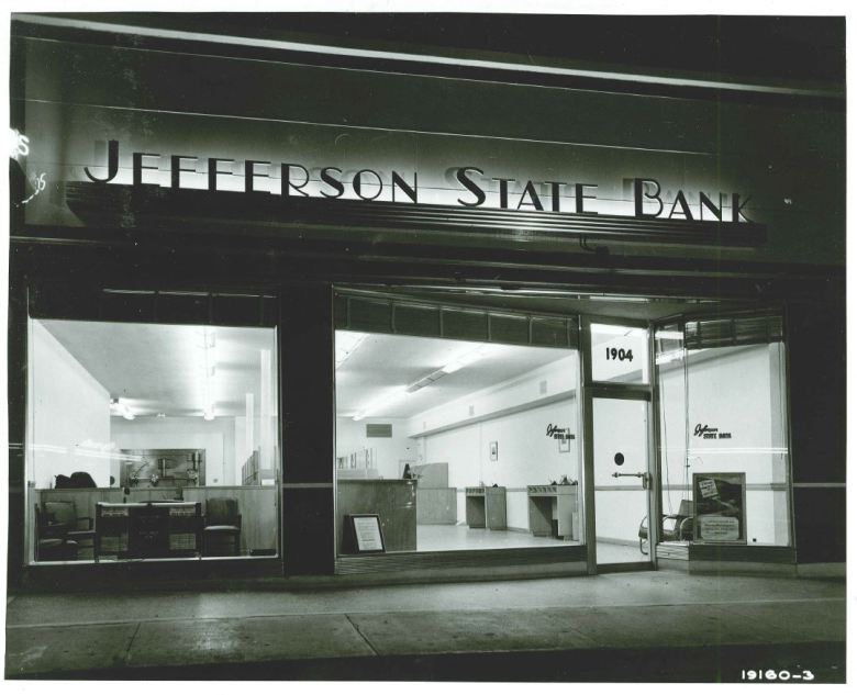 Jefferson Bank opened its first location at 1904 Fredericksburg Road. This photo was taken by the bank in the 1950s.
