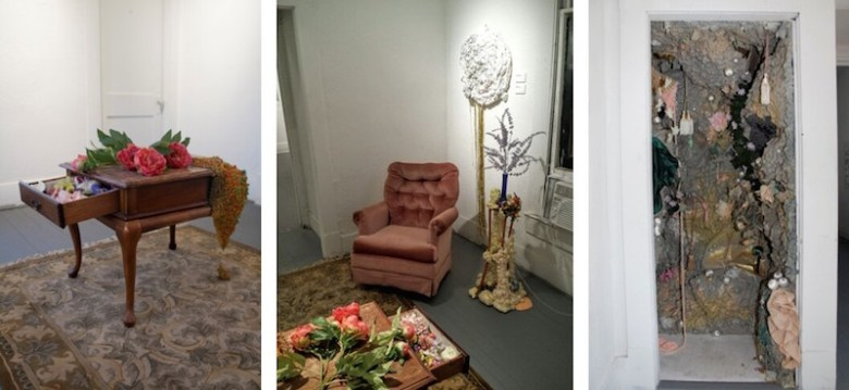 """""""Internally Yours,"""" 2016, found objects, recycled Danna sculpture, mixed media, installation at the R Gallery. Photo Courtesy of Alyssa Danna."""