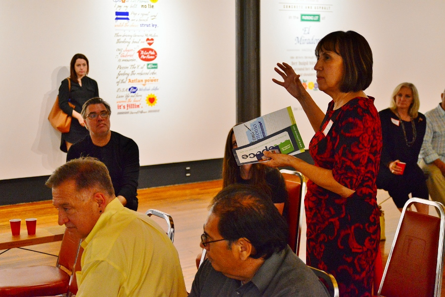 Outgoing DCCD director Felix Padron listens as Maria de Leon of NALAC makes a comment during the Artspace meeting. March 2016. Photo by Page Graham.