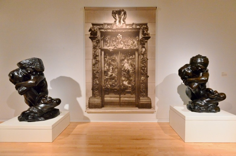 """The Gates of Hell"" never completed by Rodin in his lifetime. The fifth completed set of doors will be installed in Mexico City at the Museo Sumaya, April 2016. Flanked by the ""Fallen Caryatids."" Photo by Page Graham."