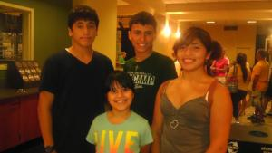 Alejandro Gonzalez (center) with his siblings on the day they dropped him off at Baylor University. Courtesy photo