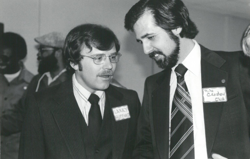 Larry Hufford (left) with Mike Croshaw, head of the Communication Workers of America. Image courtesy of Larry Hufford.