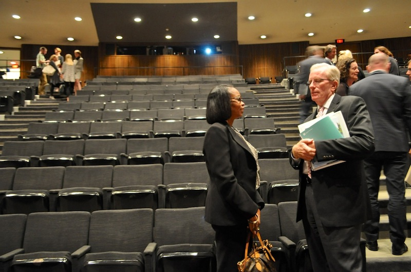 San Antonio Mayor Ivy Taylor (left) speaks with Houston Parks Director Joe Turner after the Leading with Landscapes II conference. Photo by Iris Dimmick.
