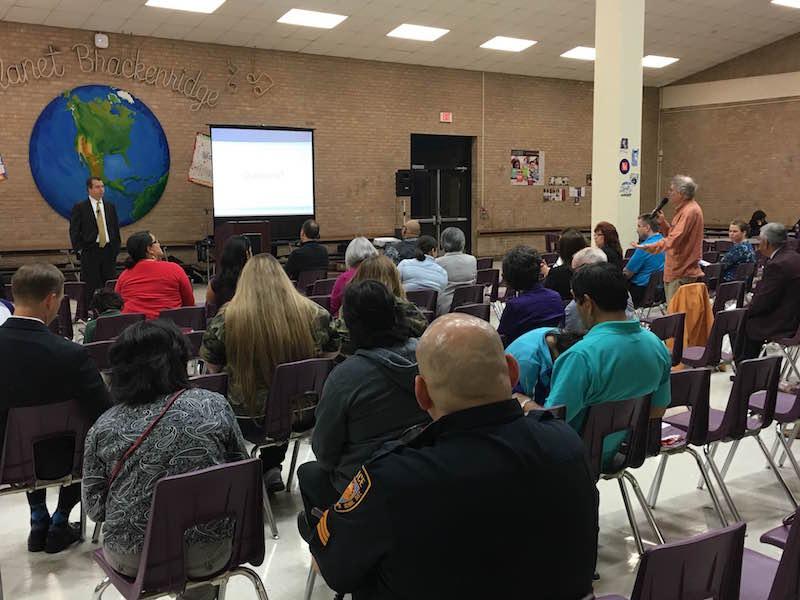 SAISD Superintendent Pedro Martinez takes questions during a community meeting at Brackenridge HS. photo by Bekah McNeel