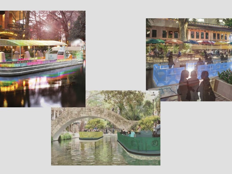 """Renderings from left: """"A Transcending Experience"""" by Luna Architecture + Design and Lay Pitman & Associates; """"River Boat"""" by METALAB; and """"River Barge"""" by Sadi Brewton and Jonathan Davies."""