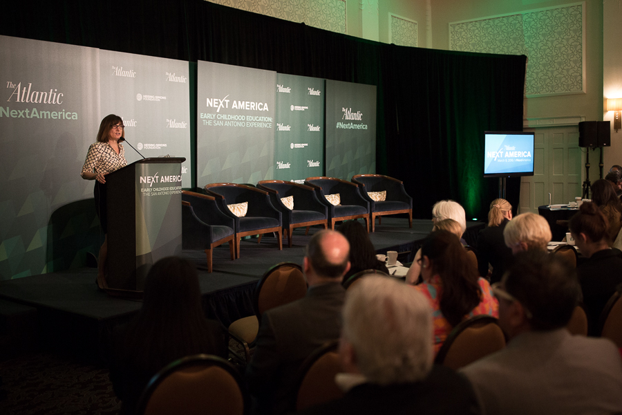 President of AtlanticLIVE Margaret Low Smith gives opening remarks and a welcome to audience members. Photo by Scott Ball.