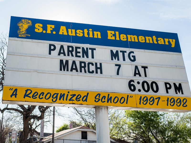 A marquee board highlighting a parent meeting on March 7th outside of Austin Academy. Photo by Scott Ball.