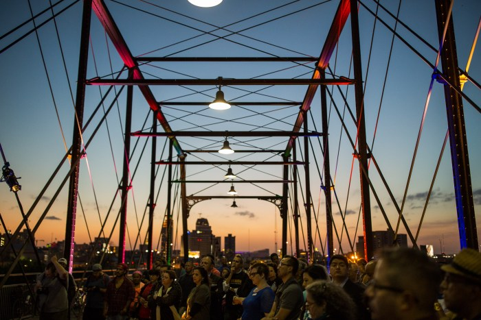 A large group of guests arrived for the press event on the Hays Bridge. Photo by Scott Ball.