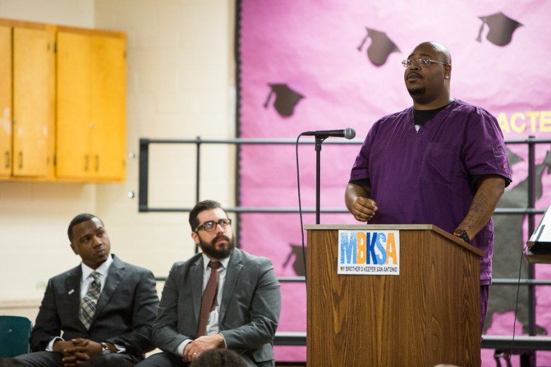 Nathaniel Smith speaks to wanting to send a message to minority children in San Antonio. Photo by Scott Ball.
